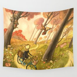 Bike Ride Through The Woods Wall Tapestry