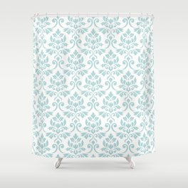 Feuille Damask Pattern Duck Egg Blue on White Shower Curtain