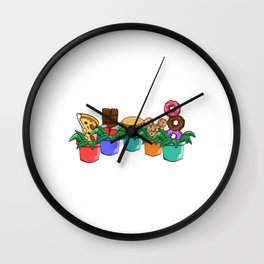 A Cute Greeny Food Plant Tee For You With Illustration Of Foods on A Pot T-shirt Design Pizza  Wall Clock