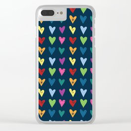 Funky Heart Doodles (Blue) Clear iPhone Case