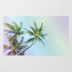 Relaxing Rainbow Color Palms Rug