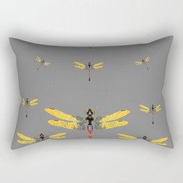 GOLDEN-RED DRAGONFLIES ON GREY Rectangular Pillow
