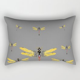 GOLDEN-RED DRAGONFLIES ON GREY Rectangular Pillow
