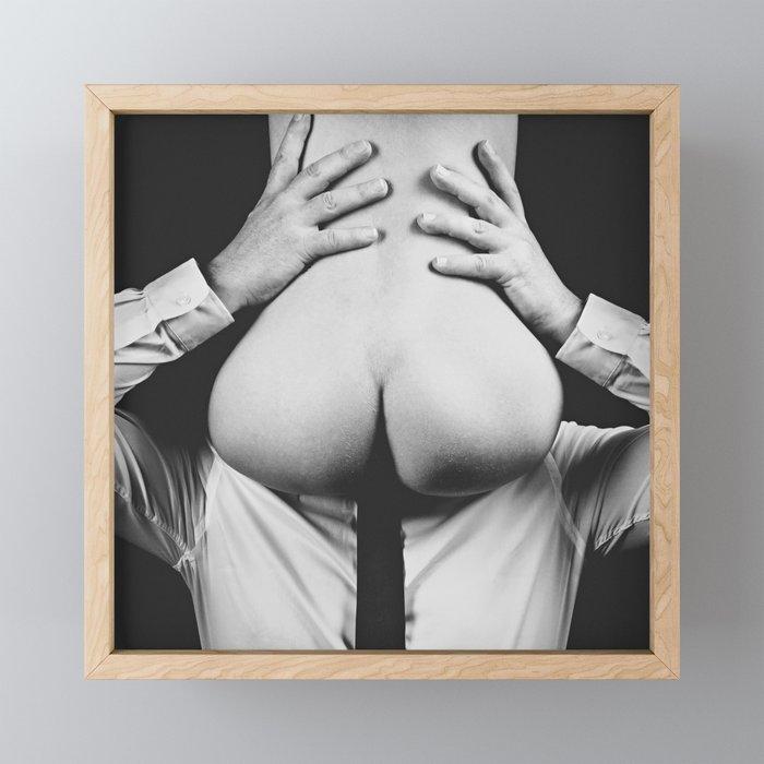 Photograph Erotic Art  - Nude woman sitting on a man Framed Mini Art Print