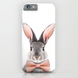 Baby Rabbit, Grey Bunny With Bow Tie, Baby Animals Art Print By Synplus iPhone Case