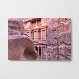 Petra Al Khazneh Treasury Temple Ruins by Day Metal Print