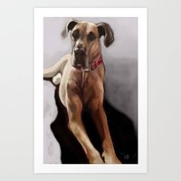 great dane Art Prints featuring Great Dane by Elyse Allen