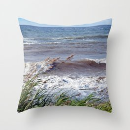 Waves Rolling up the Beach Throw Pillow