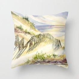 Shoreline Dune Shadows Across Lake Throw Pillow