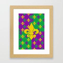 Mardi Gras Fleur-de-Lis Pattern Framed Art Print