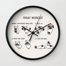 Friday Workout with French Bulldog Wall Clock