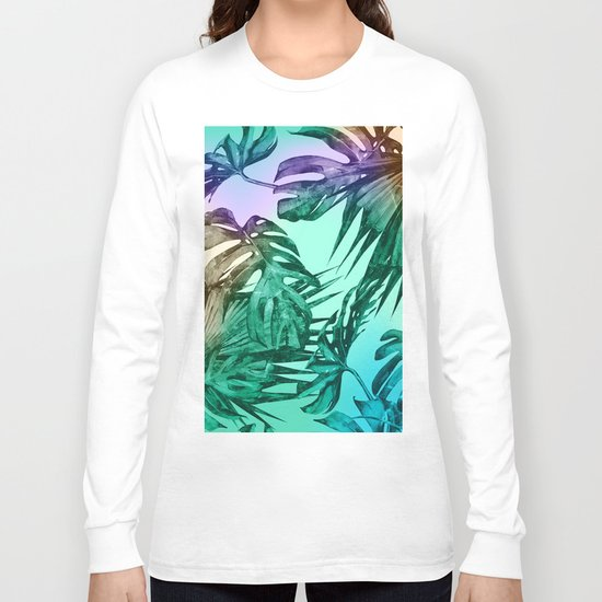Simply Palm Leaves in Hologram Island Green Long Sleeve T-shirt