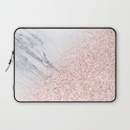 She Sparkles Rose Gold Pink Marble Luxe Geometric Laptop Sleeve