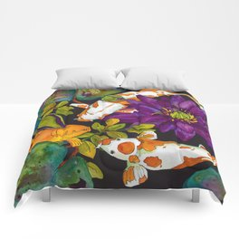 Purple Lily and Koi Comforters