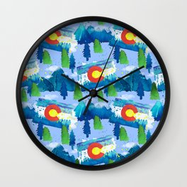 Watercolor Colorado mountains, trees and flag Light Blue Wall Clock