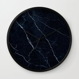 Navy Blue Cracked Marble Wall Clock