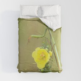 Praying Mantis on top of a yellow flower Comforters