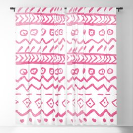 Modern pink watercolor hand made aztec pattern Blackout Curtain
