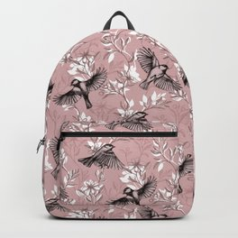 Flowers and Flight in Monochrome Rose Pink Backpack
