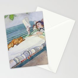 Carl Larsson  -  Woman Lying On A Bench Stationery Cards