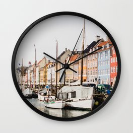 The Row | City Photography of Boats and Colorful Houses in Nyhavn Copenhagen Denmark Europe Wall Clock