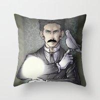 tesla Throw Pillows featuring Tesla by Isara
