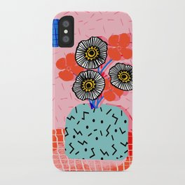 Far Out - still life memphis abstract collage floral vase flowers retro 80s style iPhone Case
