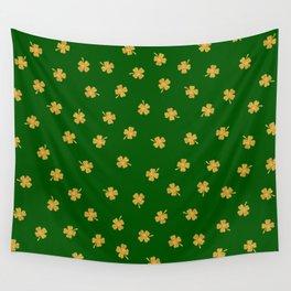 Golden Shamrocks Green Background Wall Tapestry