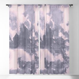 Blush Pink and Purple Blue Abstract Painting #1 #ink #decor #art #society6 Sheer Curtain