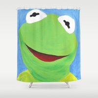 kermit Shower Curtains featuring Kermit the Frog by Hetty's Art