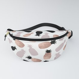 Abstrct Pink Rose Gold Black Tropical Pineapple Pattern Fanny Pack