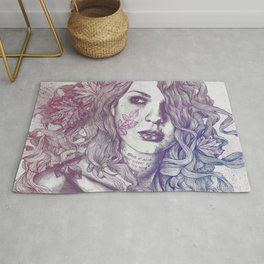 Wake: Red & Blue | maple leaves tattoo woman portrait Rug