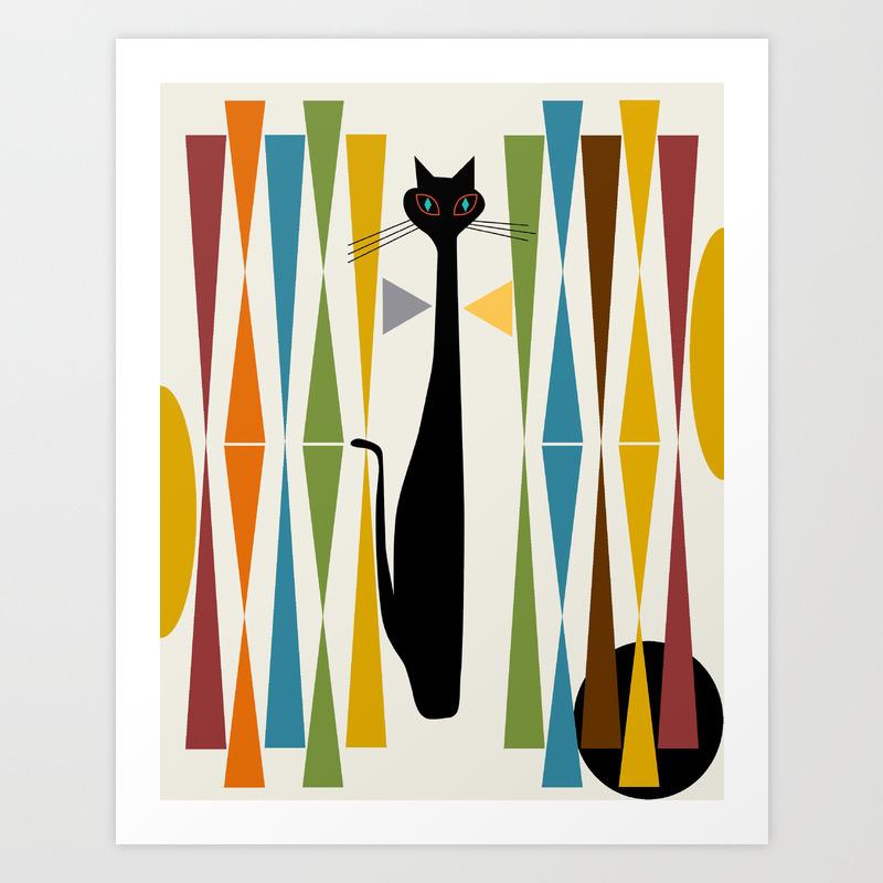 Mid Century Modern Art Cat 20 Art Print