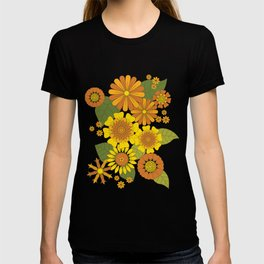 Orange, Brown, Yellow and Green Retro Daisy Pattern T-shirt