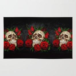 Red Rose Sugar skull Rug