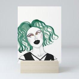 Alien - green hair and black lips Mini Art Print