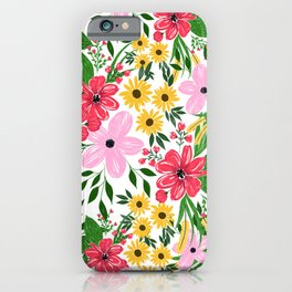 Cute Pink Red Spring Floral Hand Paint Design iPhone Case