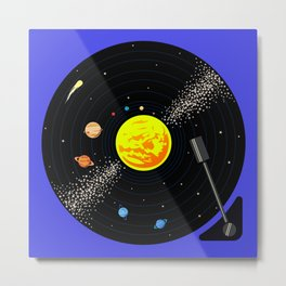 Solar System Vinyl Record Metal Print