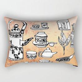 Chinese Tea Doodles 2 Rectangular Pillow