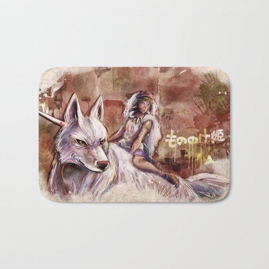 Miyazaki's Mononoke Hime - San and the Wolf TraDigital Painting Bath Mat