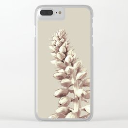 Pink and Grey Plant Art Clear iPhone Case