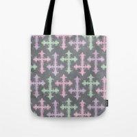 pastel goth Tote Bags featuring Pastel Goth | Grunge Grey by Glitterati Grunge