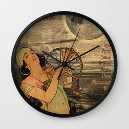 Moon - A Mucha Style Art Nouveau Interpretation Wall Clock