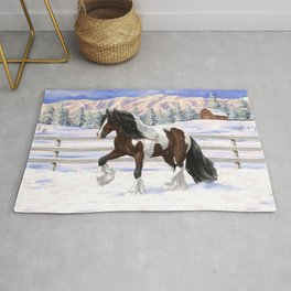 Brown and White Bay Pinto Skewbald Gypsy Vanner Draft Horse In Snow Rug