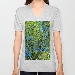 Poplar Tree In Spring. Fresh Green Leaves Unisex V-Neck