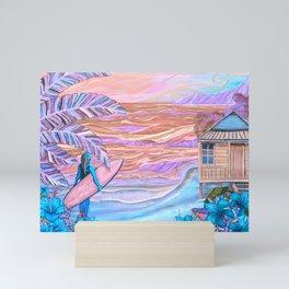 Hawaiian Coral And Teal Surfer Fine Art Mini Art Print