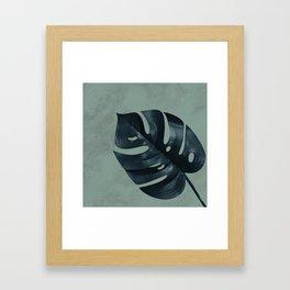MONSTERA GREEN MARBLE Framed Art Print