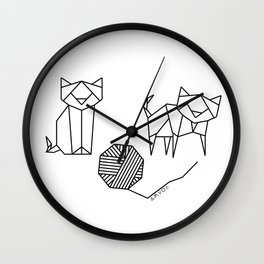 Geometrical Kitty Partern Wall Clock