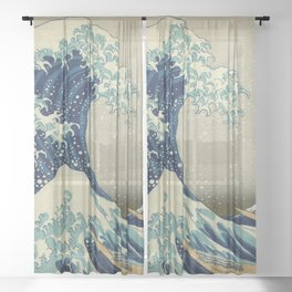 The Classic Japanese Great Wave off Kanagawa Print by Hokusai Sheer Curtain
