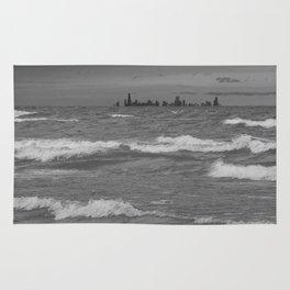 Windy City Skyline bw Rug